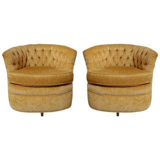 Pair of Yellow Hollywood Regency Swivel Chairs For Sale