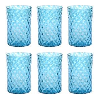 Aqua Mandala Drinking Glass - Set of 6 For Sale