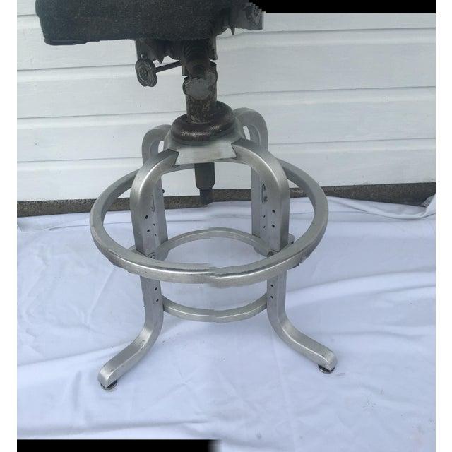 Single antique lab stool with original characteristics and personality, including original Herringbone Fabric seat. Stool...