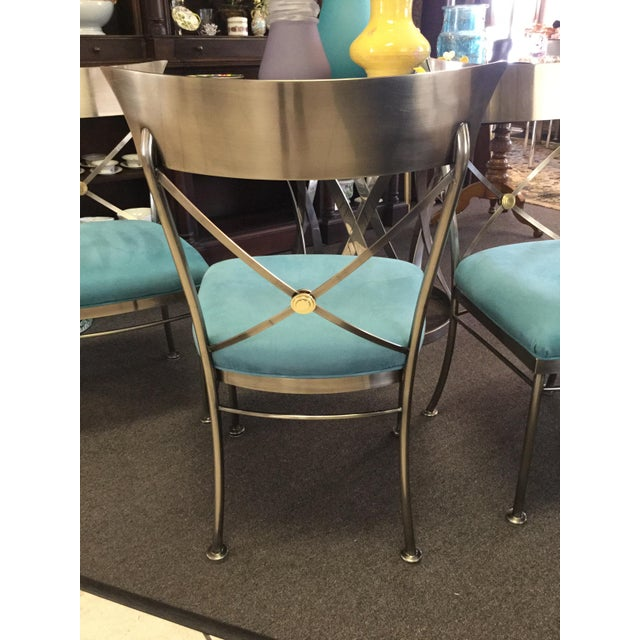 Mid-Century Modern Turquoise Sueded Seat & Brushed Platinum Chairs - Set of 4 For Sale - Image 3 of 7