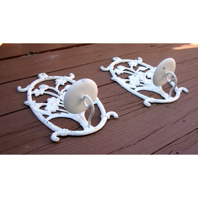 Painted White Cast Iron Floral Candle Sconces - 2 - Image 6 of 11