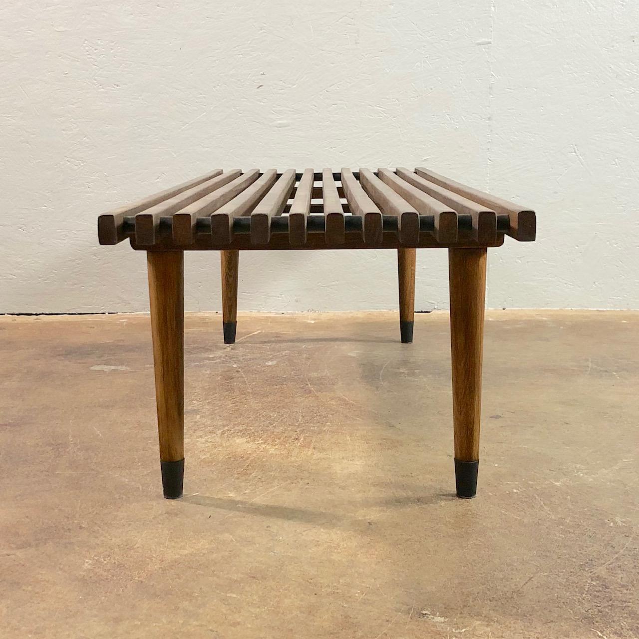 1960s Mid Century Modern Walnut Slat Coffee Table