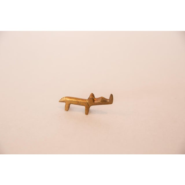 Old New House Vintage African Mini Golden Bronze Rhino For Sale - Image 4 of 7