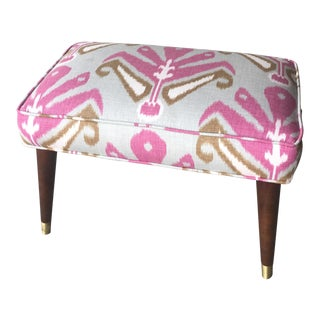 Mid-Century Pink Ikat Upholstered Bench For Sale