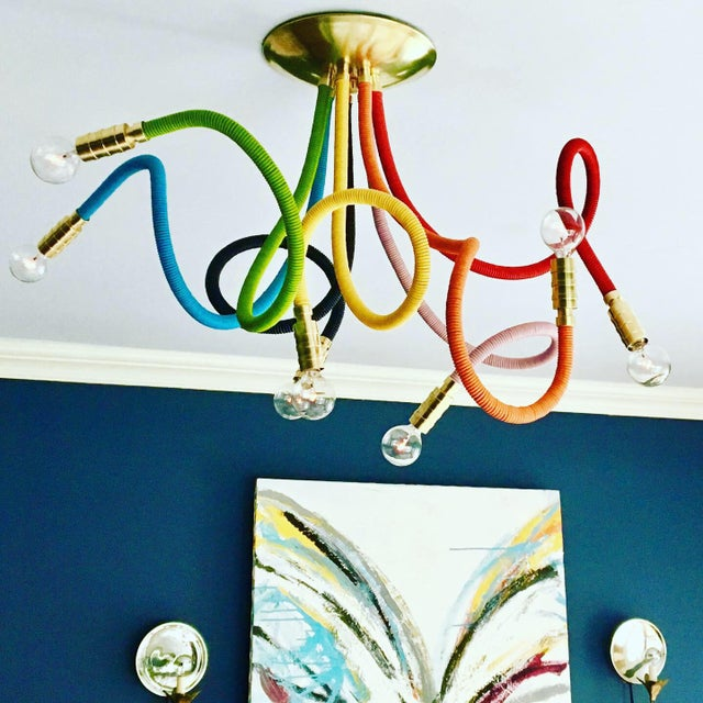 Not Yet Made - Made To Order Rainbow Meander Chandelier For Sale - Image 5 of 7