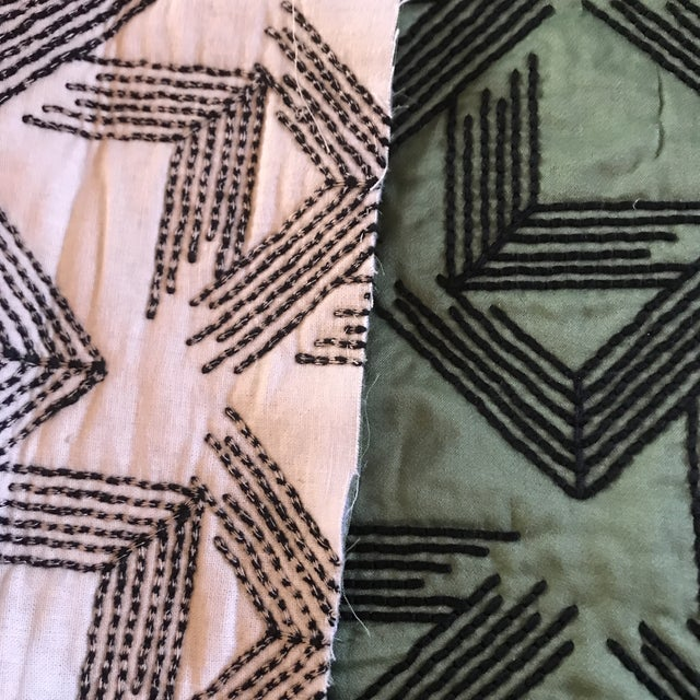 2010s Miles Redd for Schumacher V Step in Loden Fabric- 2 Yards For Sale - Image 5 of 6