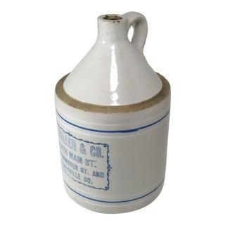 Antique American Stoneware 1 Gallon Store Advertising Jug For Sale