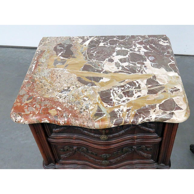 Pair of Louis XV style 2 drawer marble top end tables.