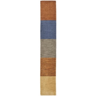 """Hand Knotted Indian Sampler Rug - 1'4"""" x 7'8"""" For Sale"""