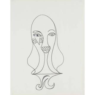 Michael DI Cosola Surrealist Portrait Drawing in Graphite For Sale
