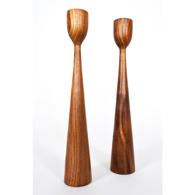 Mid-Century Modern Danish Mid Century Teak Candle Holders - a Pair For Sale - Image 3 of 7
