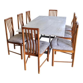 Modernist Marble & Chrome Dining Table + 8 Teak Danish Modern Chairs - Set of 9 For Sale