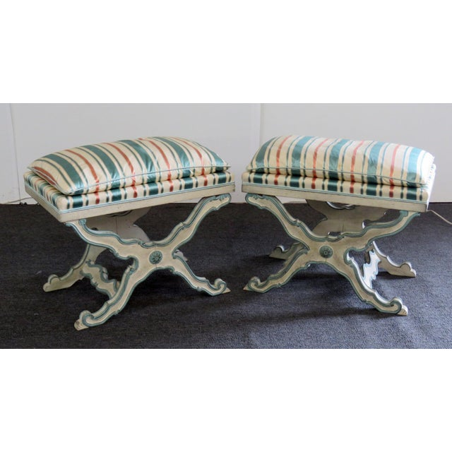Paint Pair of Swedish Paint Decorated X Benches For Sale - Image 7 of 7