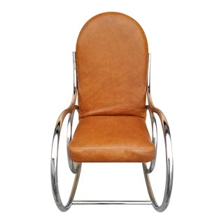 Mid Century Modern Tubular Rocking Chair Newly Upholatered in Leather For Sale