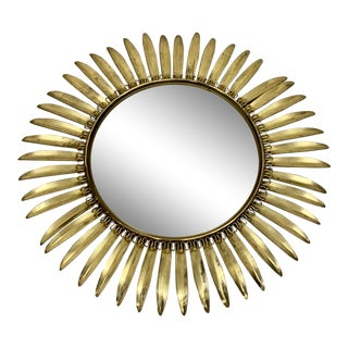 Mid Century Vintage Gold Metal Sunburst Mirror For Sale
