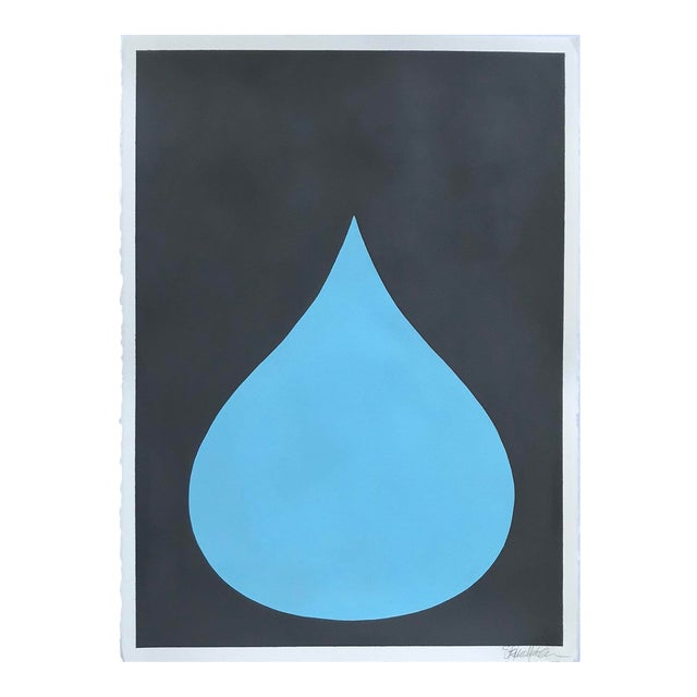 Fat Drop of Cool Blue on Graphite Acrylic Painting by Stephanie Henderson For Sale