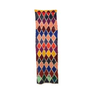 1980s Vintage Boucherouite Moroccan Rug - 3′1″ × 9′4″ For Sale