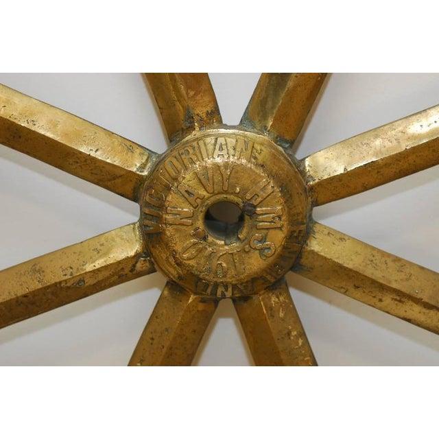 England Victorian Navy HMS Solid Brass Ships Wheel, circa 1910 - Image 2 of 8