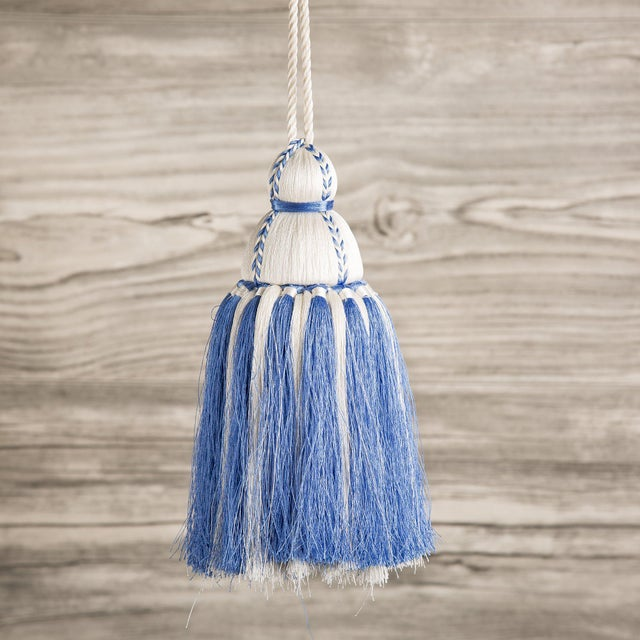 Traditional White & French Blue Tassel, Medium For Sale - Image 3 of 3
