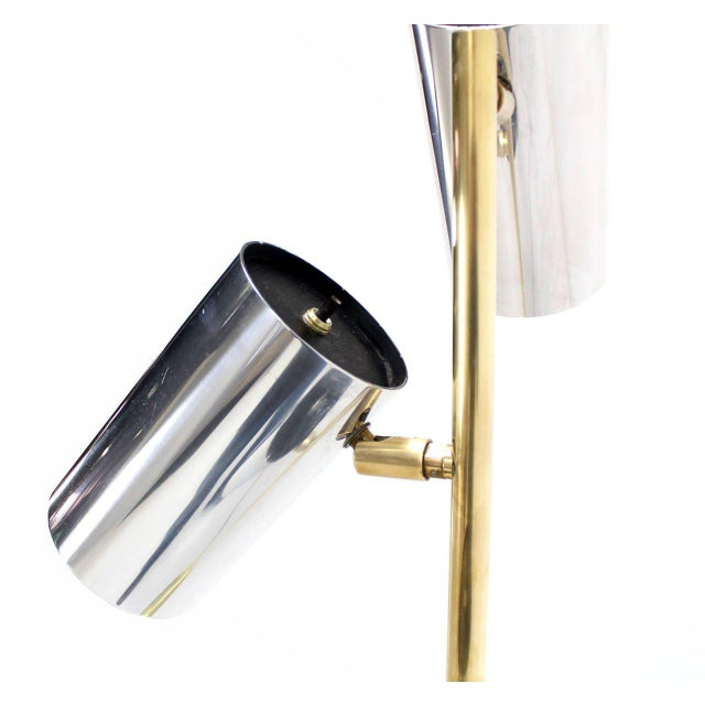 Midcentury Brass Base Floor Lamp with Three Fully Adjustable Chrome Shades For Sale - Image 4 of 6