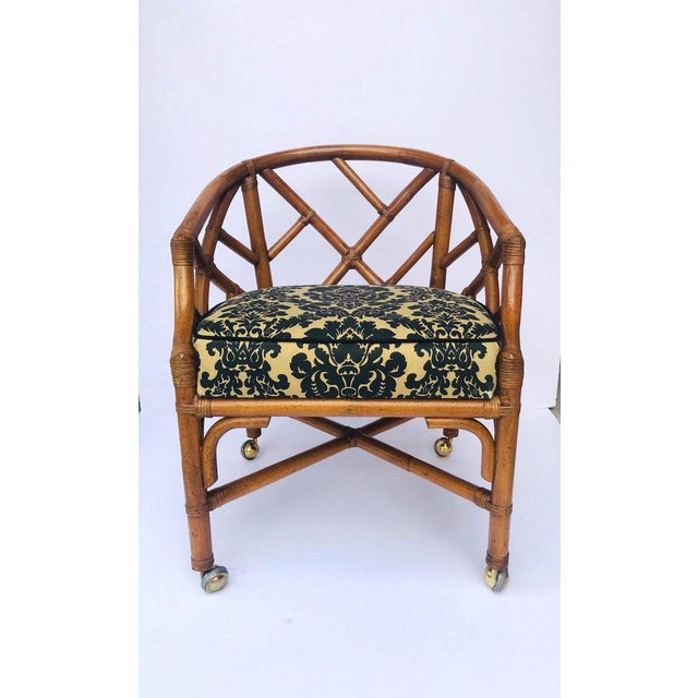 1970's Bamboo and Rattan Chippendale Swivel Desk Chair For Sale - Image 4 of 13