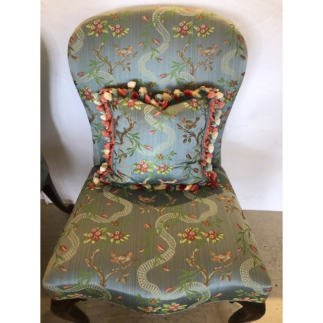 18th Century Georgian Side Chairs Dressed Up in Scalamandre Upholstery -A Pair For Sale - Image 12 of 13