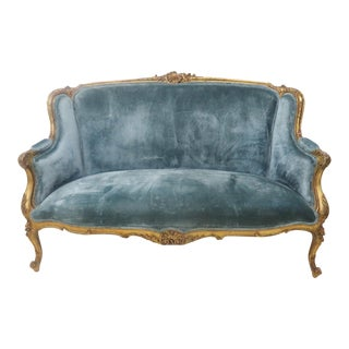 19th Century Louis XV Gold Gilt Settee