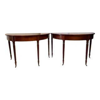 Antique George III Demi Lune Console Tables-A Pair For Sale