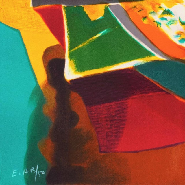 The School of Paris 'Still Life With Guitar' by Marcel Mouly Expressionist Stone Lithograph For Sale - Image 3 of 9