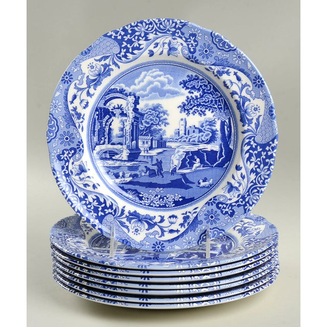 Ceramic Spode Blue Italian Luncheon Plate - Set of 8 For Sale - Image 7 of 7