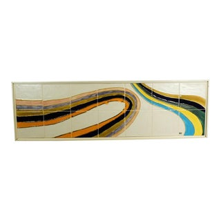 Vintage Mid Century Modern Wall Tile Mosaic Signed For Sale