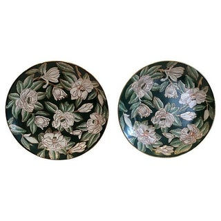Emerald & Gardenias Wall Plates - A Pair For Sale