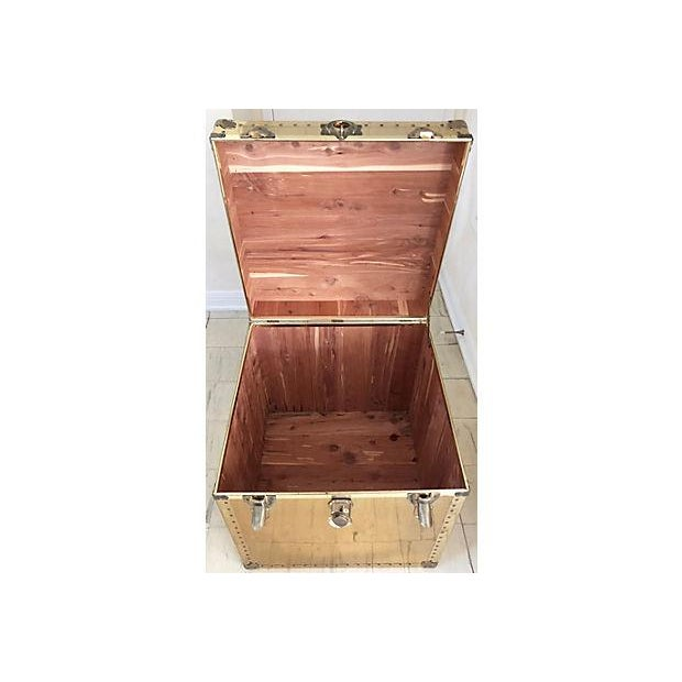 Brass and Wood Trunk / Side Table - Image 6 of 7