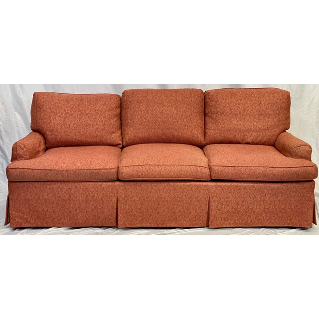 Dressmaker Sofa by Hickory Chair featuring Kick Pleat Skirt, Splayed Arms with Covers, Box Edge Back Pillows, Textured Red...