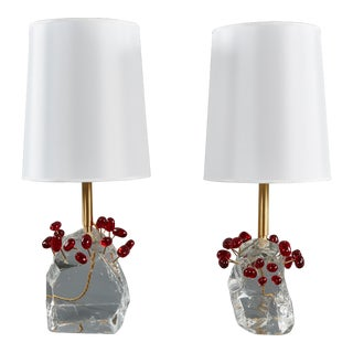 "Pair of Roberto Giulio Rida ""Ciliegie"" Cherries Table Lamps For Sale"