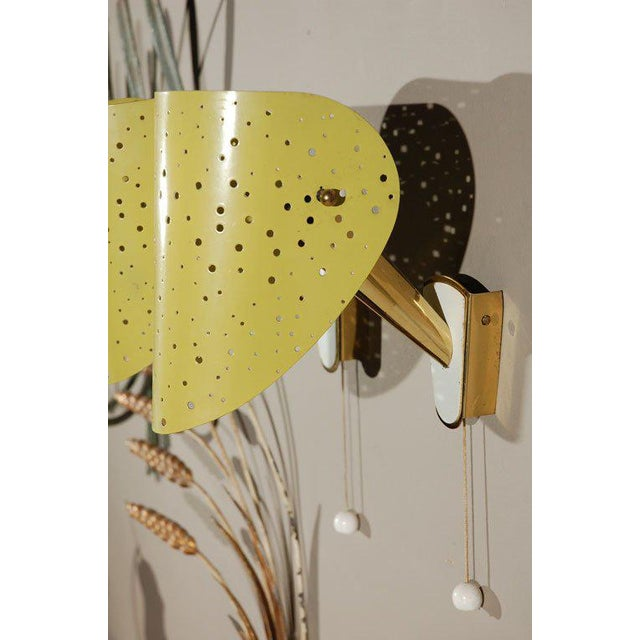 RARE Mid-Century Brass and Enamel Wall Sconces by Ernest Igl for Hillebrand - Image 2 of 4