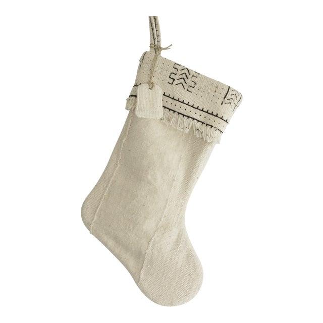 White Mudcloth Christmas Stocking - Image 1 of 6