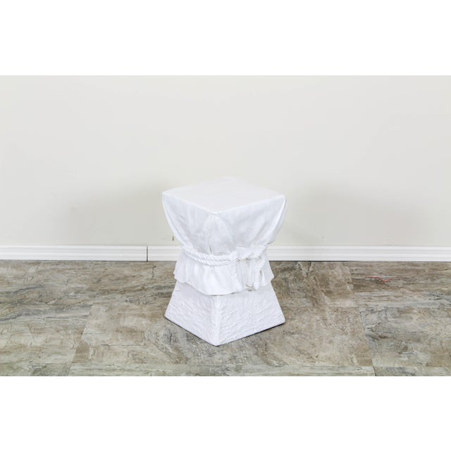 John Dickinson style draped side table with decorative rope and tassels this table has lovely white Gesso finish see...