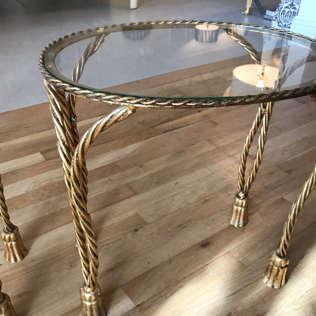 Oval Gilt Rope & Tassel Side Tables - A Pair - Image 2 of 8