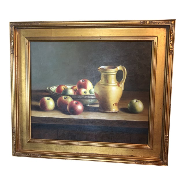 1990s Vintage Apples & Pitcher Still Life Painting For Sale