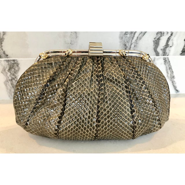 Vintage Judith Leiber Grey Python Clutch With Frog Charm Detail For Sale - Image 11 of 11