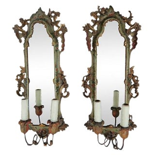 Italian Painted 2-Arm Sconces - A Pair For Sale