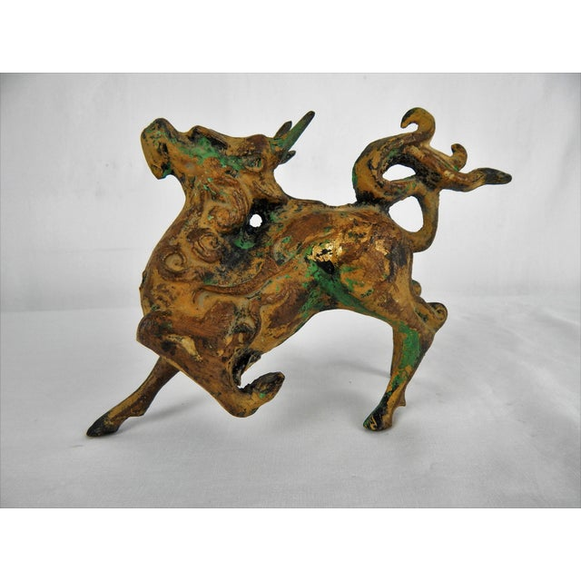 Asian Metal Prancing Horse Figure For Sale - Image 9 of 9