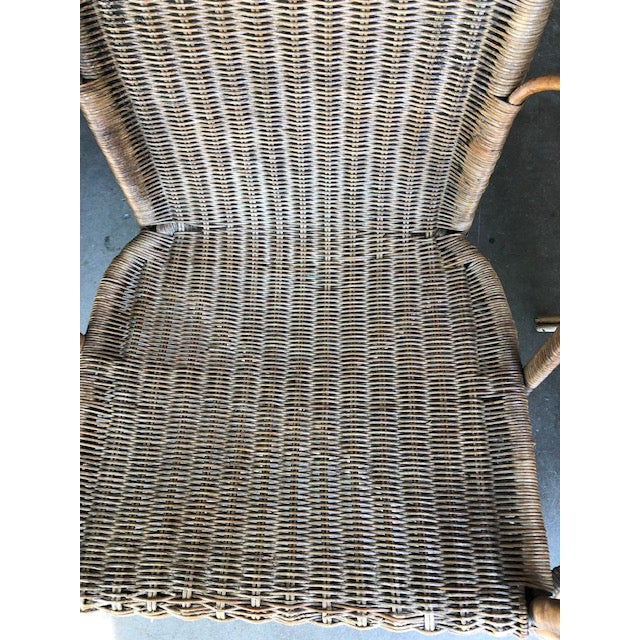 Mid-Century Modern Antique Wicker Chairs-A Pair For Sale - Image 3 of 11