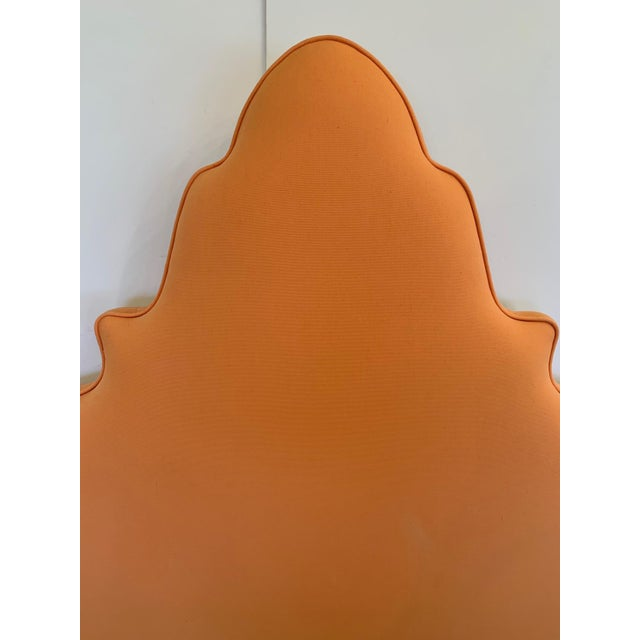 Pagoda Shaped Upholstered Twin Headboard For Sale - Image 4 of 10