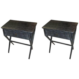 Cerused End Tables / Nightstands With Central Drawer - a Pair For Sale