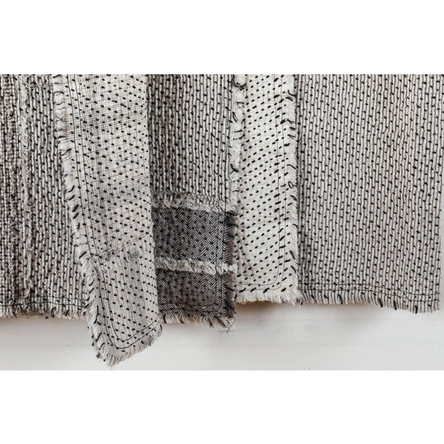 Black Chindi Indian Kantha Stitch Quilted Bedcover For Sale - Image 8 of 10