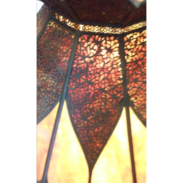 Vintage Stained Glass and Bronze Hanging Lamp - Image 4 of 7