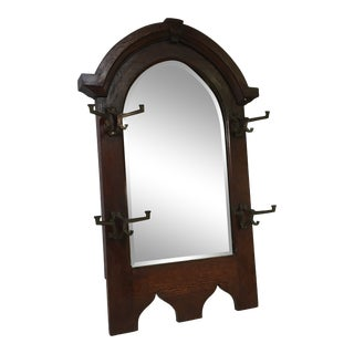 Antique Wooden Hall Tree Mirror With Hooks (Ca. 1923) For Sale