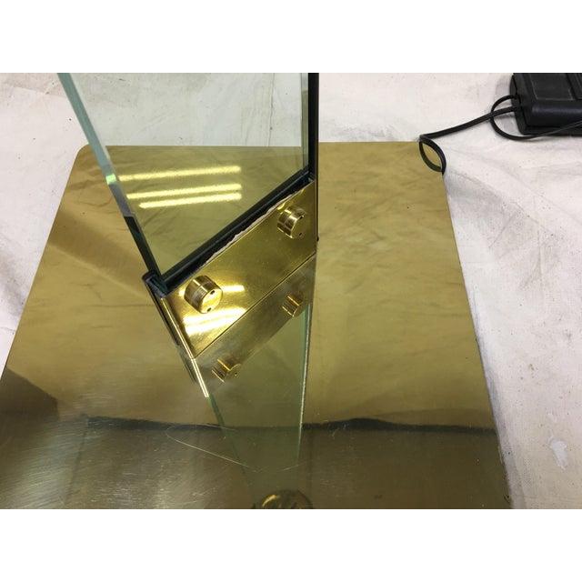 Italian Brass & Glass Floor Lamp For Sale - Image 5 of 8